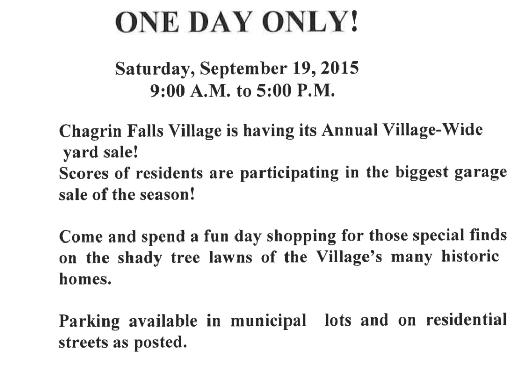 Village Yard Sale Ad