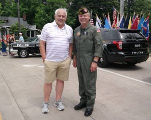 Chief Brosius and Mayor Tomko at the 2016 Blossom Time Parade.